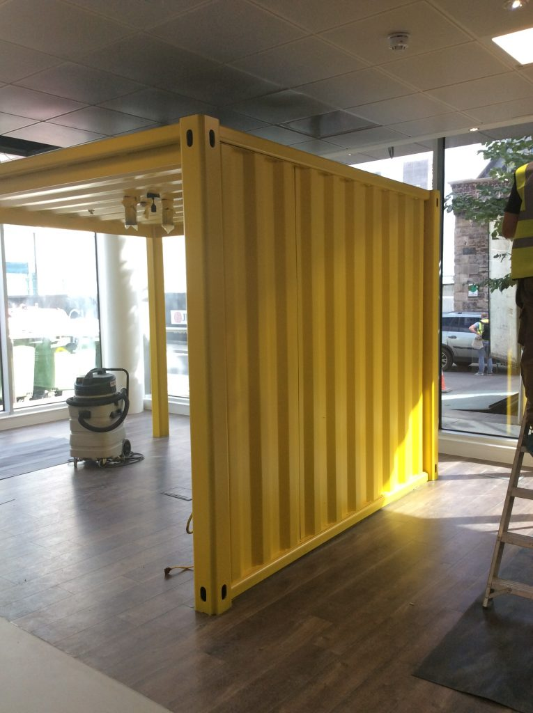 Shipping Container meeting pod on a 3rd floor location