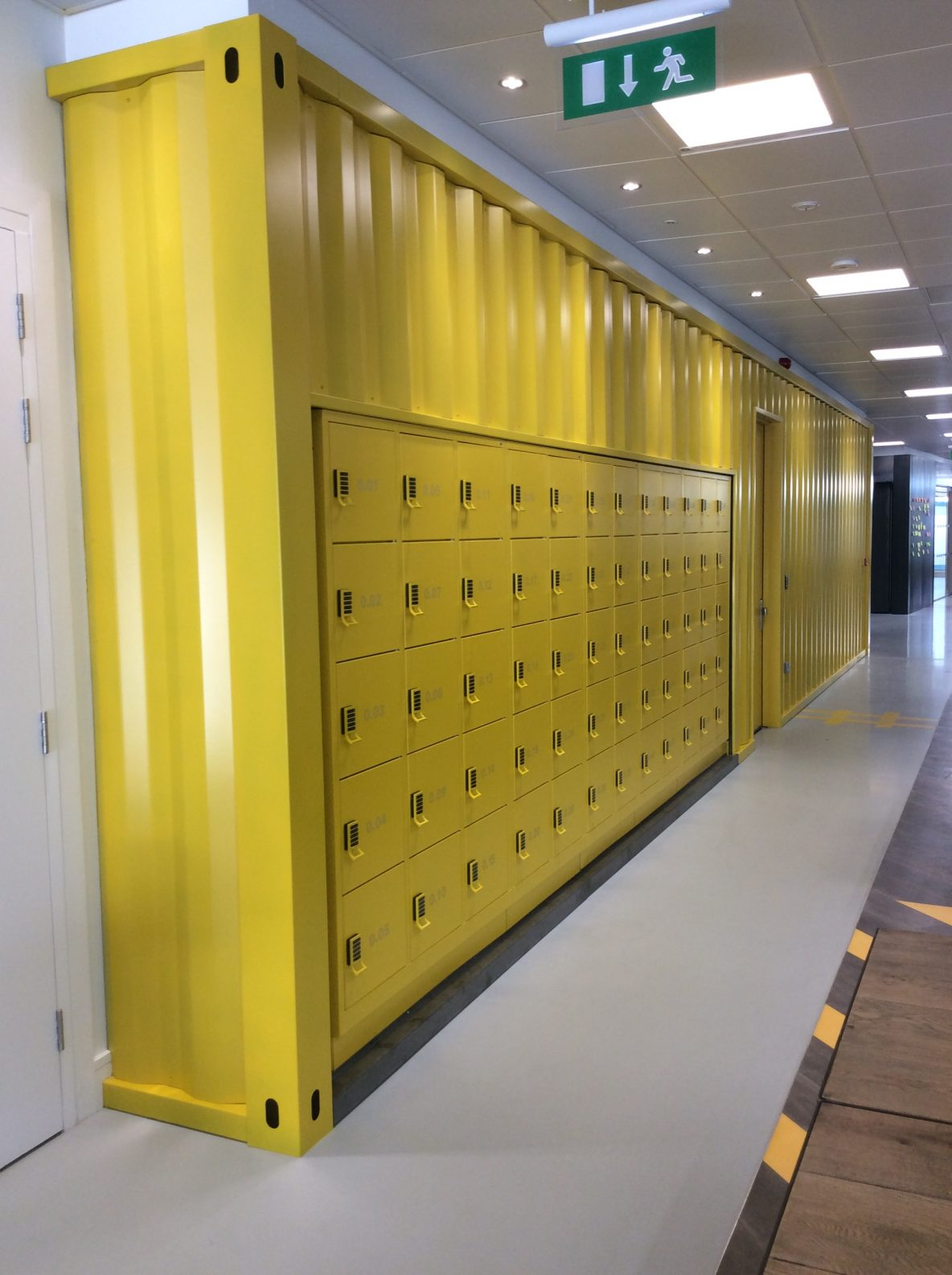 Locker area shipping container wall