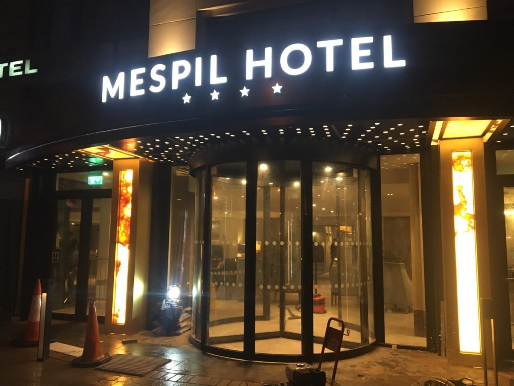 The Mespil Hotel by night.